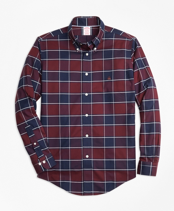 Non-Iron Madison Fit Burgundy Plaid Sport Shirt Burgundy