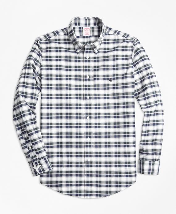 Non-Iron Madison Fit Grey Heather Plaid Sport Shirt