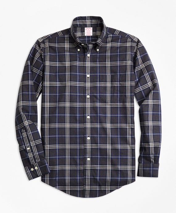 Non-Iron Madison Fit Brooks Brothers Signature Tartan Sport Shirt Charcoal