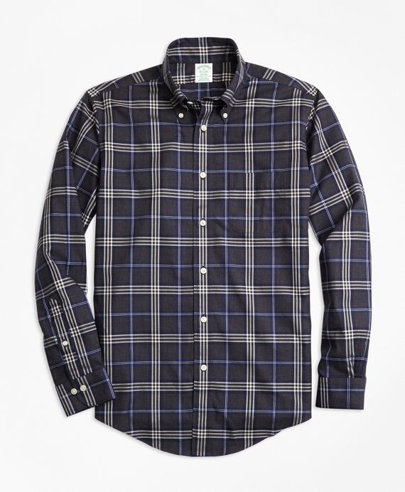 Non-Iron Milano Fit Brooks Bothers Signature Tartan Sport Shirt Charcoal