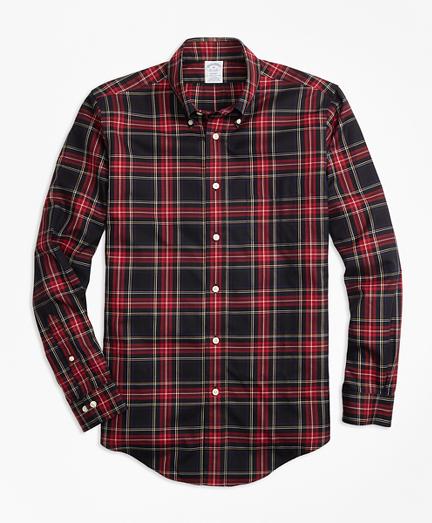 Non-Iron Regent Fit Black Stewart Tartan Sport Shirt