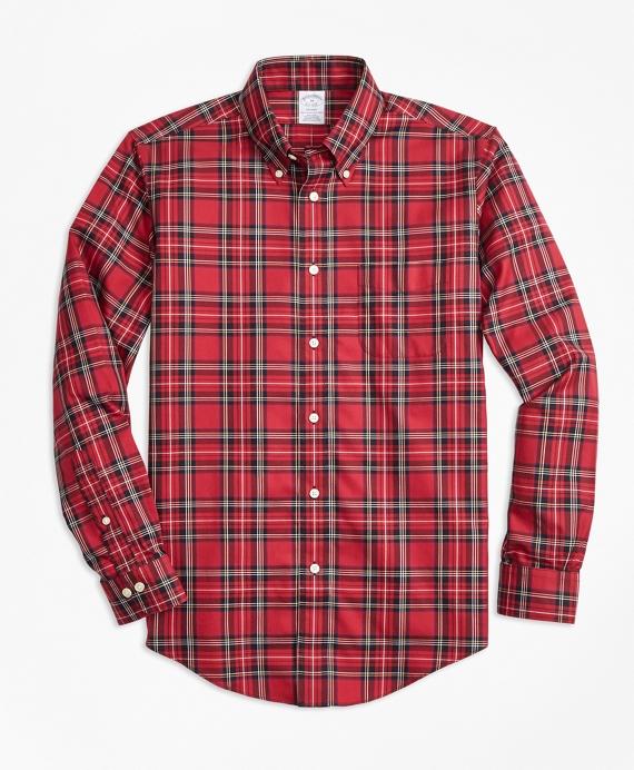 Non-Iron Regent Fit Royal Stewart Tartan Sport Shirt Red