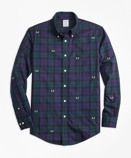 Regent Fit Black Watch with Antler Embroidered Sport Shirt
