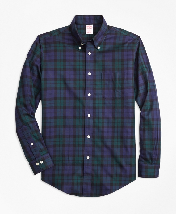 Non-Iron Madison Fit Black Watch Tartan Sport Shirt