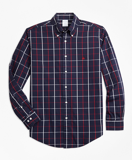 Non-Iron Regent Fit Double-Windowpane Sport Shirt