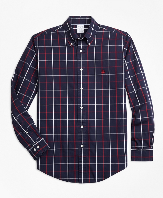 Non-Iron Regent Fit Double-Windowpane Sport Shirt Navy