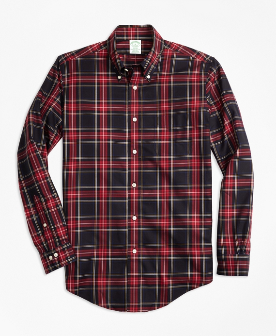 Non-Iron Milano Fit Black Stewart Tartan Sport Shirt Black-Red