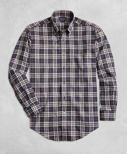 Golden Fleece® Regent Fit Black Plaid Flannel Sport Shirt