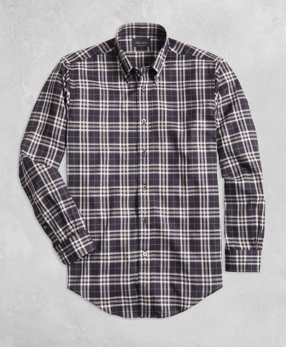 Golden Fleece® Regent Fit Black Plaid Flannel Sport Shirt