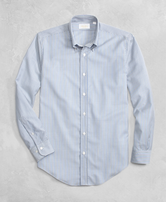 Golden Fleece® BrooksTech™ Lightweight Wool Blue and White Stripe Sport Shirt Light Blue-White