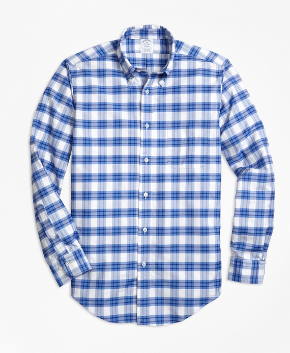 Regent Fit Oxford Plaid Sport Shirt Blue-White