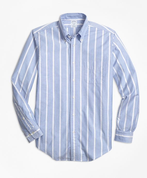 Regent Fit Oxford Wide Stripe Sport Shirt Light Blue
