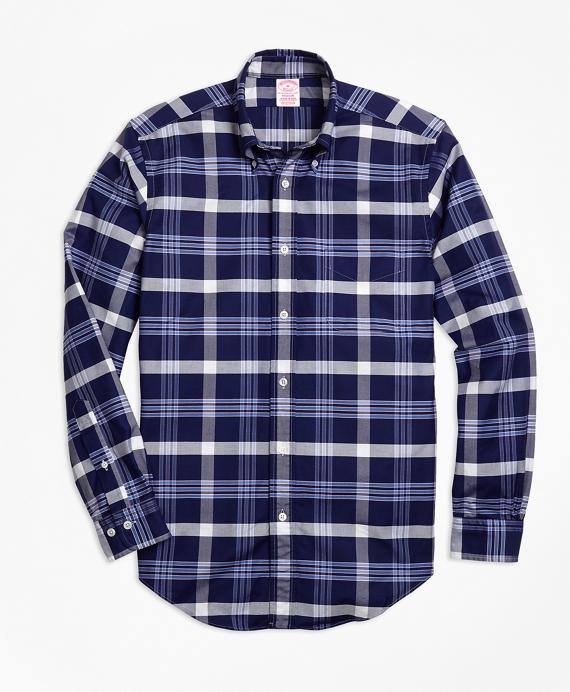 Madison Fit Oxford BB#10 Plaid Sport Shirt Navy