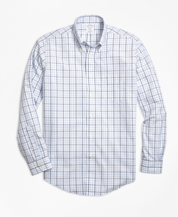 Non-Iron Regent Fit Triple-Color Windowpane Sport Shirt Blue