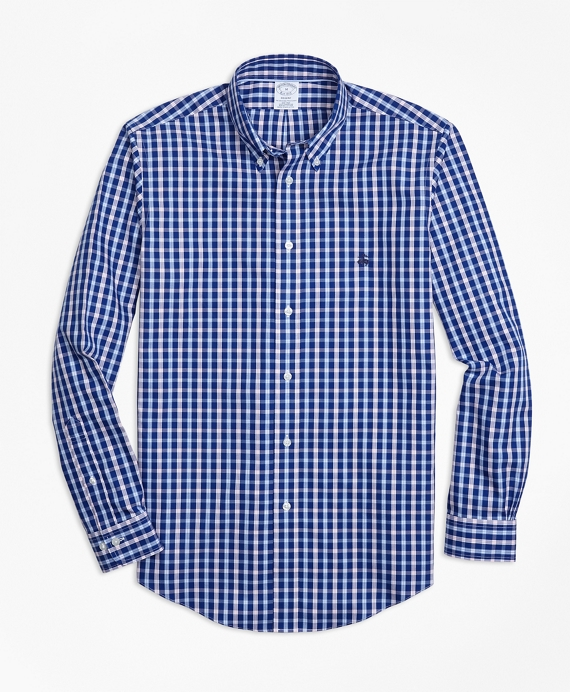 Non-Iron Regent Fit Three-Color Check Sport Shirt Blue