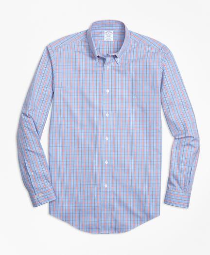Non-Iron Regent Fit Three-Color Windowpane Check Sport Shirt
