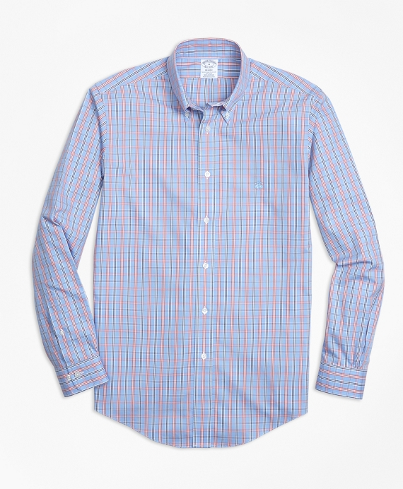 Non-Iron Regent Fit Three-Color Windowpane Check Sport Shirt