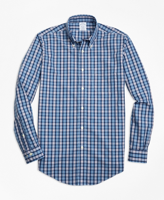 Non-Iron Regent Fit Heathered Multi-Plaid Sport Shirt Blue