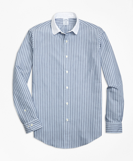 Regent Fit Heathered Stripe Sport Shirt