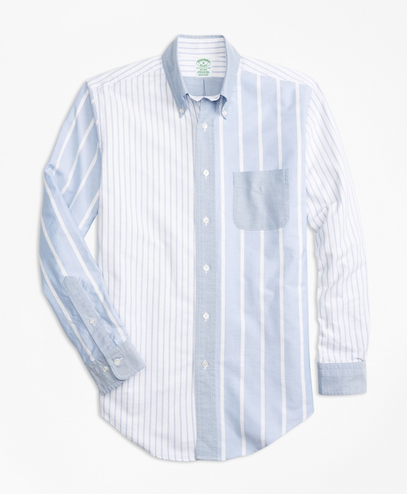 Milano Fit Oxford Fun Stripe Sport Shirt Blue