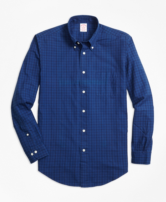 Madison Fit Indigo Tonal Plaid Sport Shirt Indigo