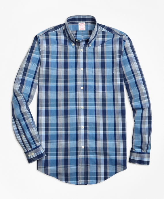 Non-Iron Madison Fit Heathered Madras Sport Shirt