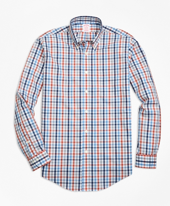 Non-Iron Madison Fit Heathered Multi-Gingham Sport Shirt Blue-Red