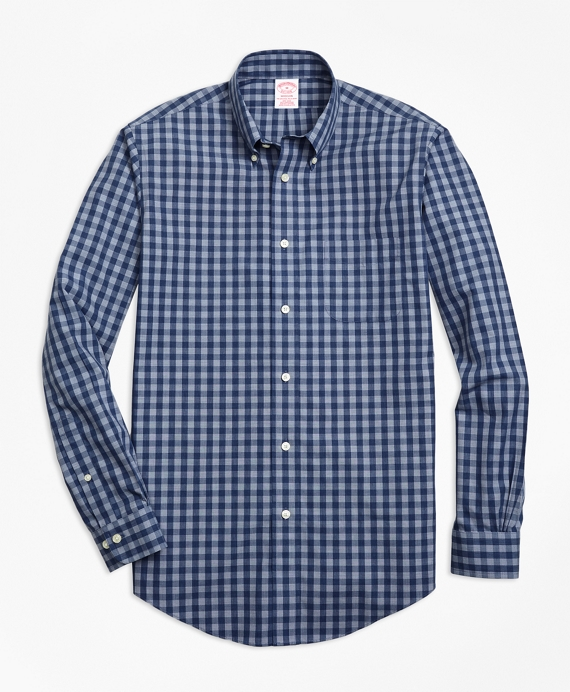 Non-Iron Madison Fit Heathered Gingham Sport Shirt Navy