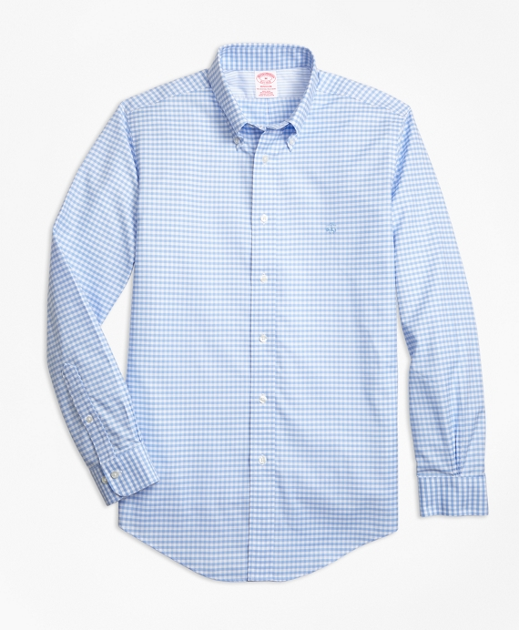 Non-Iron Madison Fit Gingham Sport Shirt Light Blue