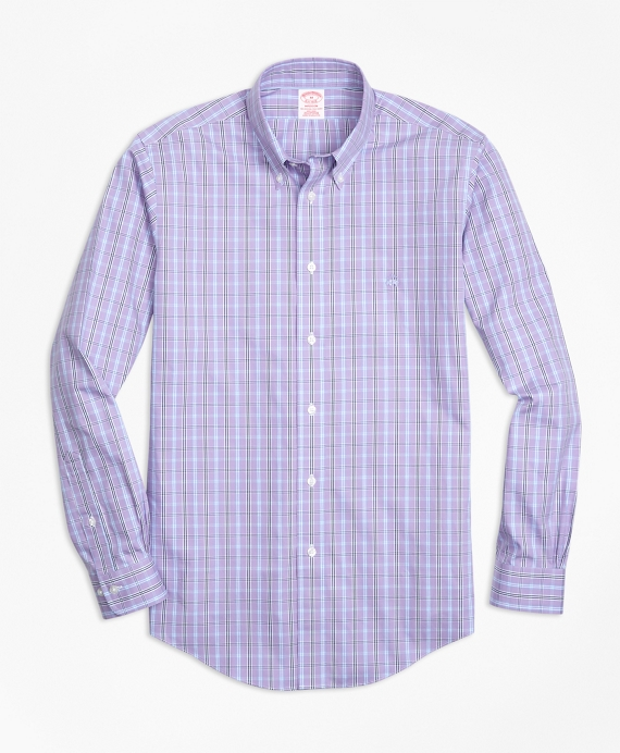 Non-Iron Madison Fit Three-Color Windowpane Check Sport Shirt Purple