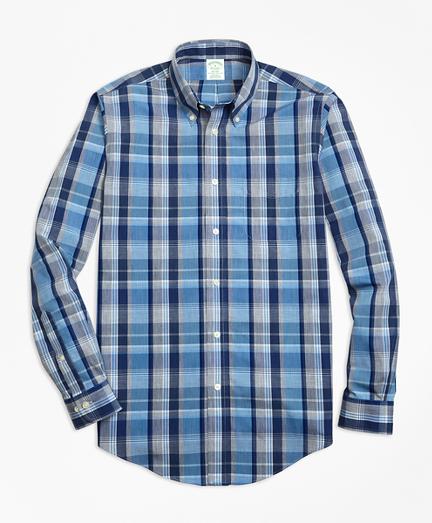 Non-Iron Milano Fit Heathered Madras Sport Shirt