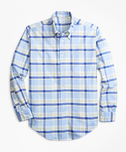 Regent Fit Oxford Blue and Yellow Plaid Sport Shirt