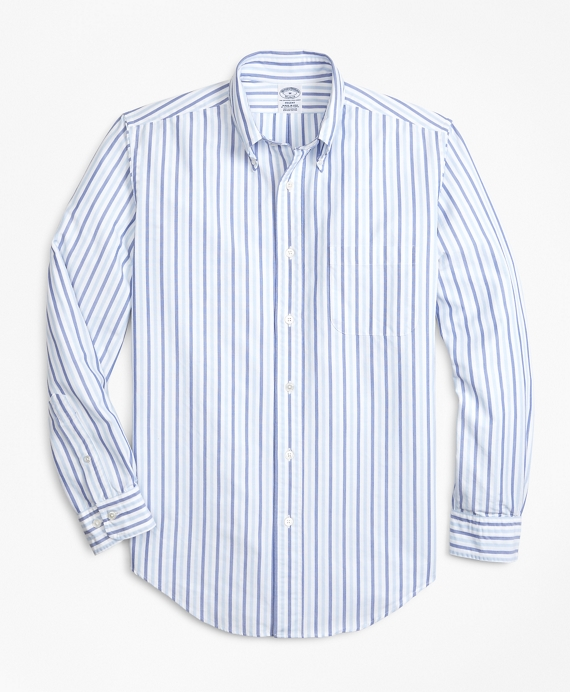 Regent Fit Oxford Alternating Stripe Sport Shirt Navy-Light Blue