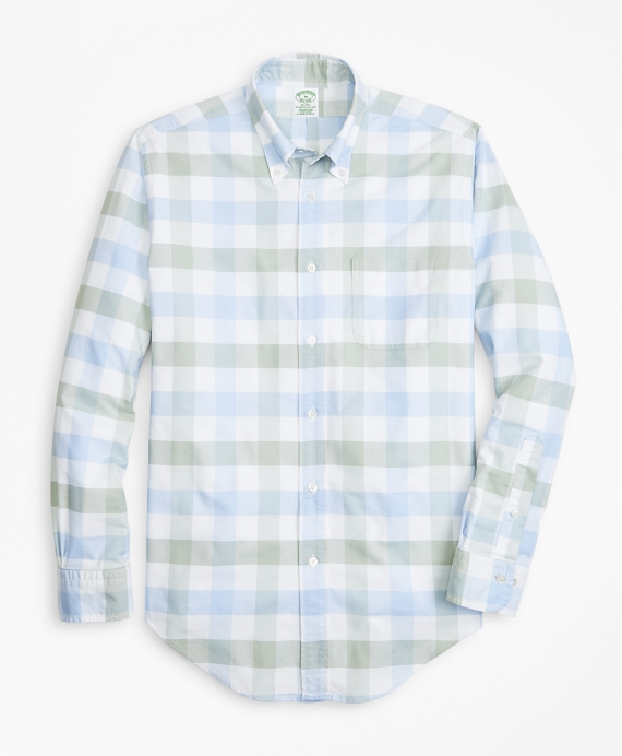 Milano Fit Oxford Check Sport Shirt Blue-Green