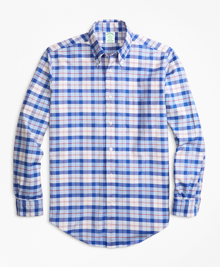 Milano Fit Oxford Blue and Red Plaid Sport Shirt