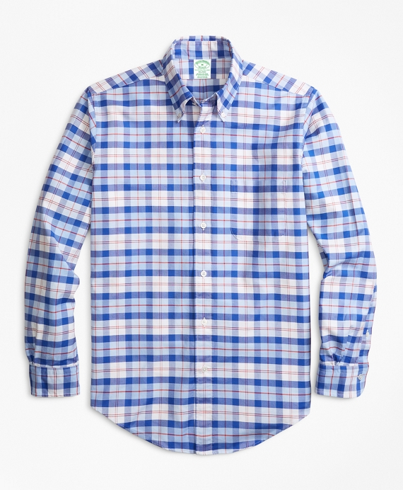 Milano Fit Oxford Blue and Red Plaid Sport Shirt Blue-Red