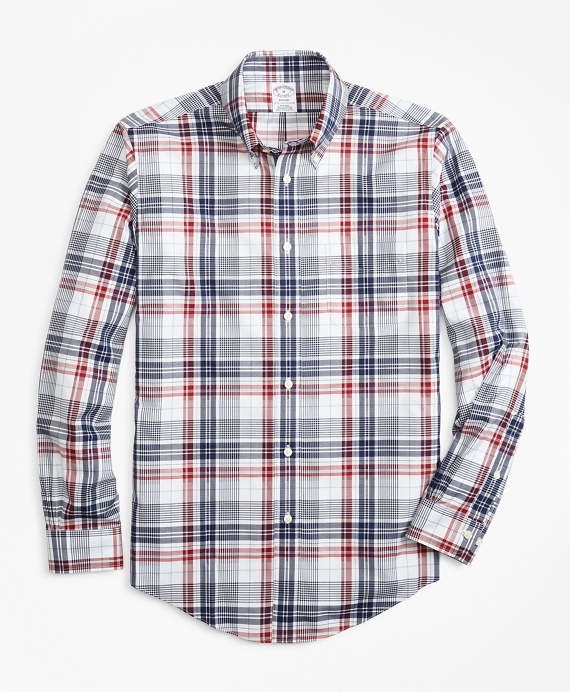Non-Iron Regent Fit Dobby Plaid Sport Shirt Multi
