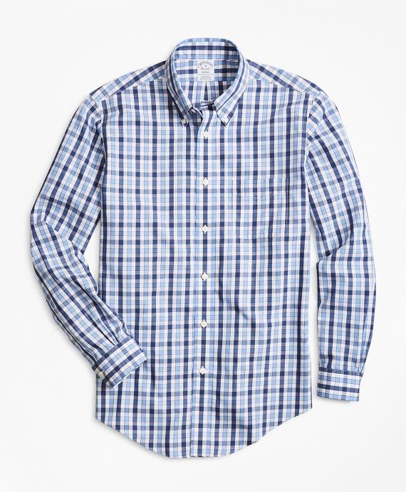 Non-Iron Regent Fit Outline Check Sport Shirt Blue