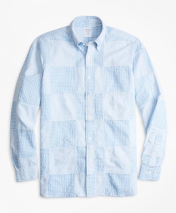 Regent Fit Patchwork Seersucker Sport Shirt Blue