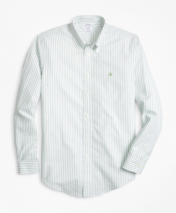 Non-Iron Regent Fit Stripe Sport Shirt Green