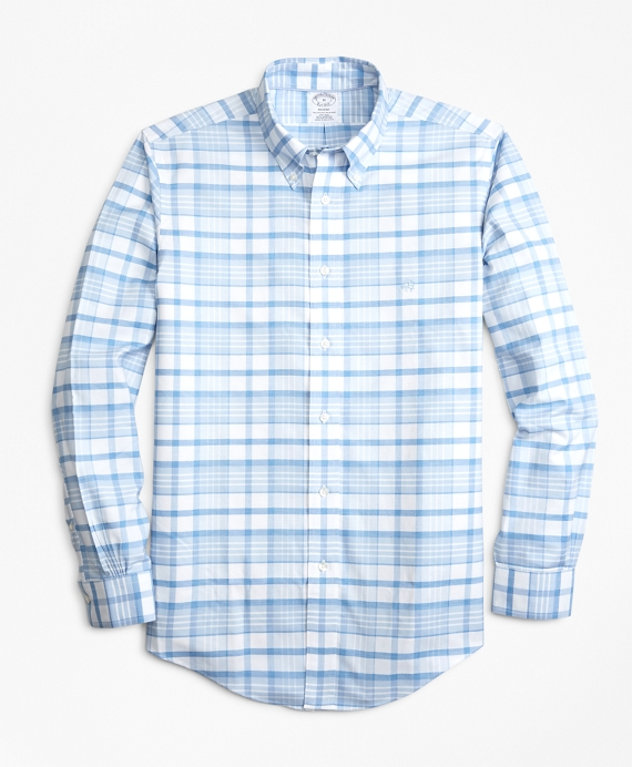 Non-Iron Regent Fit Tonal Plaid Sport Shirt Blue