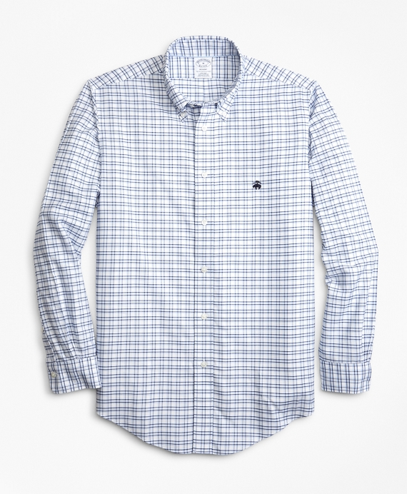 Non-Iron Regent Fit Track Check Sport Shirt Blue