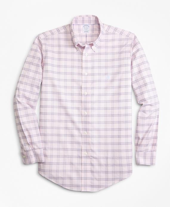 Non-Iron Regent Fit Grid Check Sport Shirt Pink