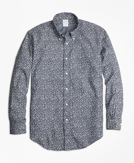 Regent Fit Leaf Print Denim Indigo Sport Shirt