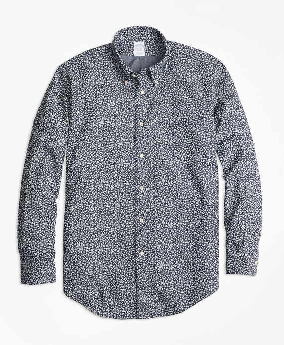 Regent Fit Leaf Print Denim Indigo Sport Shirt Chambray