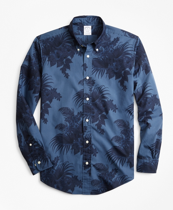 Regent Fit Supima® Tropical Print Sport Shirt Navy