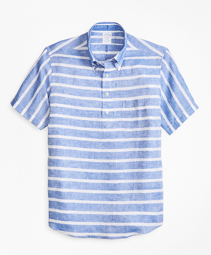 Regent Fit Horizontal Stripe Short-Sleeve Popover Sport Shirt