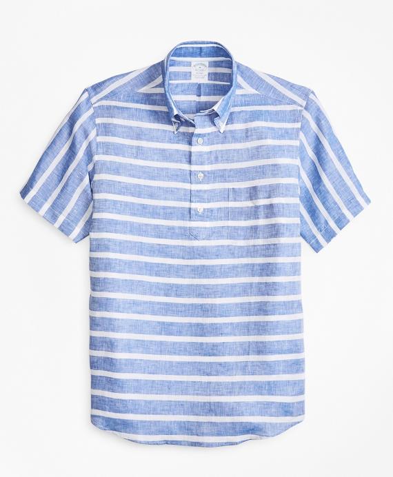Regent Fit Horizontal Stripe Short-Sleeve Popover Sport Shirt Blue