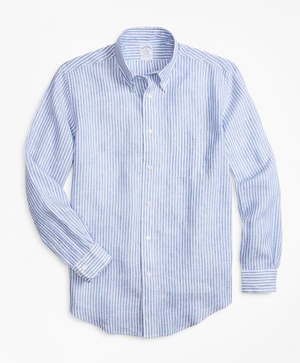 Regent Fit Bengal Stripe Irish Linen Sport Shirt