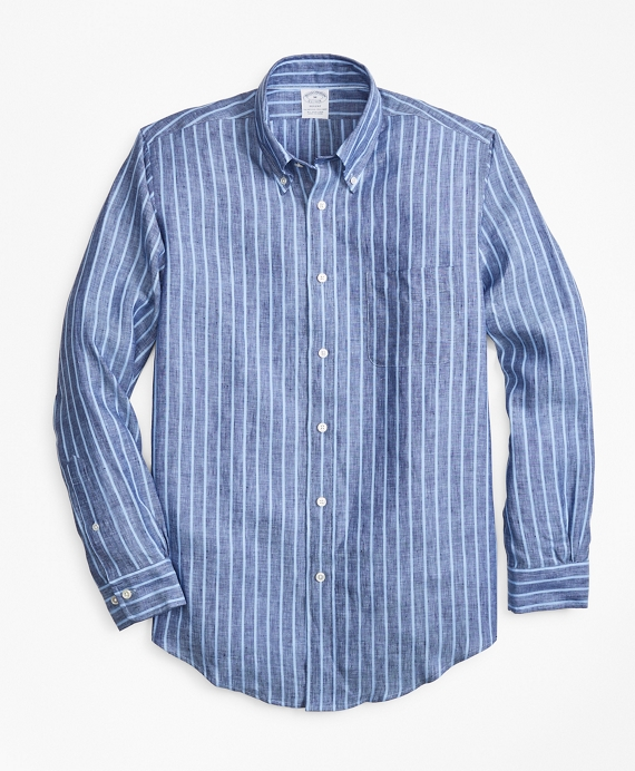 Regent Fit Bold Stripe Irish Linen Sport Shirt Blue